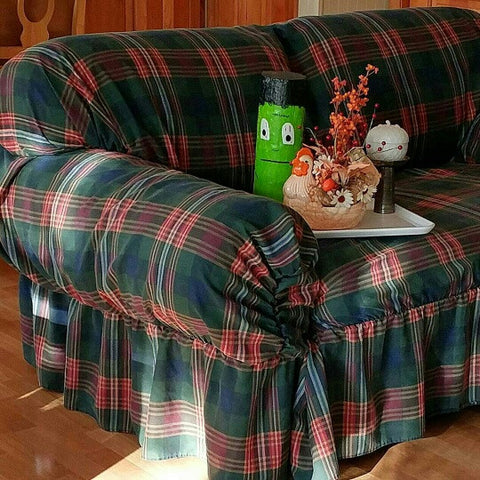 SOLD SlipCover Sure Fit Division Fieldcrest Cannon Inc. Green Plaid Sofa/Loveseat,