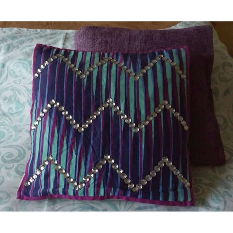 Throw Pillow Cover Purple & Teal Stripe With Clear Large Beads Design