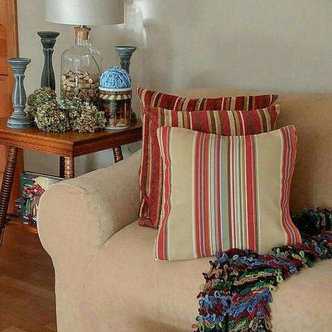 "RH Throw Pillow Restoration Hardware Chenille Garnet Striped 22"" + RH Insert"