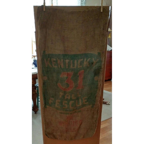 Burlap Kentucky 31 Tall Fescue The Wonder Grass Vintage Sack Bag