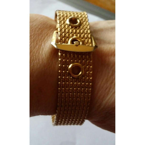 Bracelet Vintage Avon Gold Mesh Adjustable With Buckle & Eye Closure