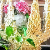 Vintage Swag Jute Macrame Hanging Light Bulb Lamp Table shown hanging closeup