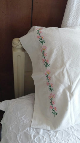 SOLD Most Items Are 1 Of's: 1 Set of 2 #Pillowcases Vintage #Embroidered Standard Size
