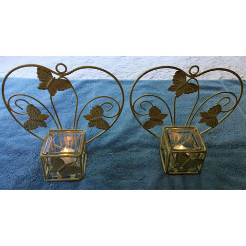 Candle Holders Wall Sconces Vintage Rustic Hanging Set of 2