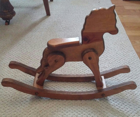 SOLD Horse Rocking Folk Art Home Decor Wooden Vintage
