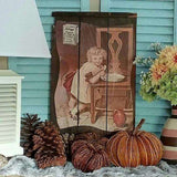 Antique RaisinRak Wood Tray With Vintage W.K. Kellogg Little Girl Ad
