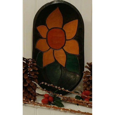 Dough Bowl Wooden Primitive With Gorgeous Sunflower Carving