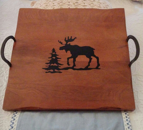 SOLD Homestudio Woodland Square Wood Tray Moose Rustic Iron Metal Handles