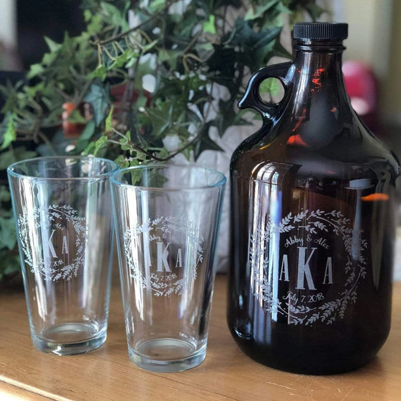 Set of Growler and 2 Glasses (I Do Collection (W4)
