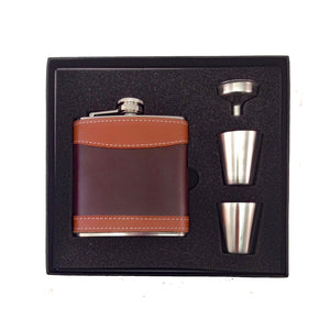 6 oz Leather Wrapped Stainless Steel Flask Gift Set - Kapp studio