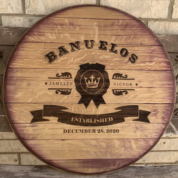 reclaimed wine barrel lid for wedding guest book