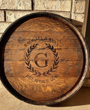 "Whiskey Barrel Head with Hoop & 3"" Stave"