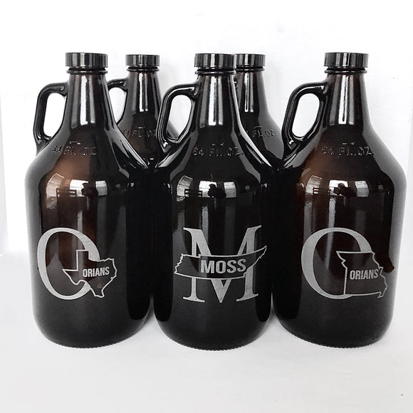 Growler With State and Split Monogram (C3)