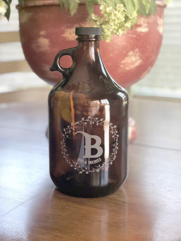 Custom Glass Craft Beer Growler - Newlywed Gift (C1)