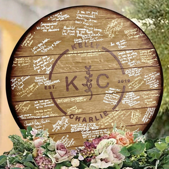 Napa Valley Wine Barrel Lid Reclaimed I Do Collection (C6)