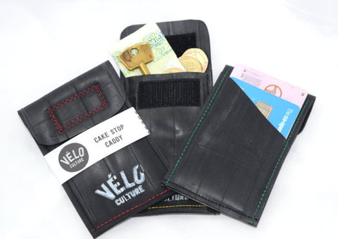 Cake Stop Caddy ™- upcycled inner tube bicycle wallet, money/credit card pouch
