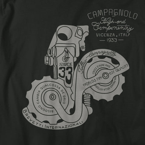 A close up of Campy 33 Cycling T Shirt on a blank T Shirt