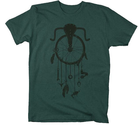 Dreamcatcher Cycling T Shirt on a charcoal T Shirt