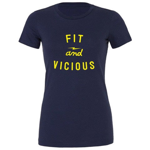 "WOMENS ""FIT AND VICIOUS"" T Shirt  - NAVY"