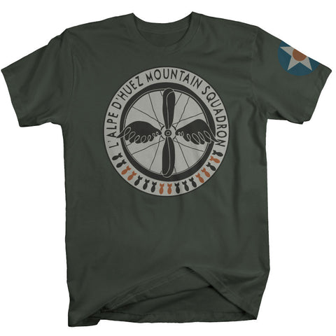"Mens ""L'alpe d'Huez Mountain Squadron"" T Shirt - M*A*S*H Green"