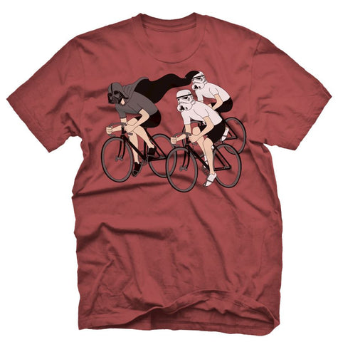 Hypserspace Cycling T Shirt on a Red T Shirt