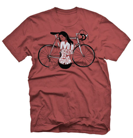 Live And Let Ride Cycling T Shirt on a red T Shirt