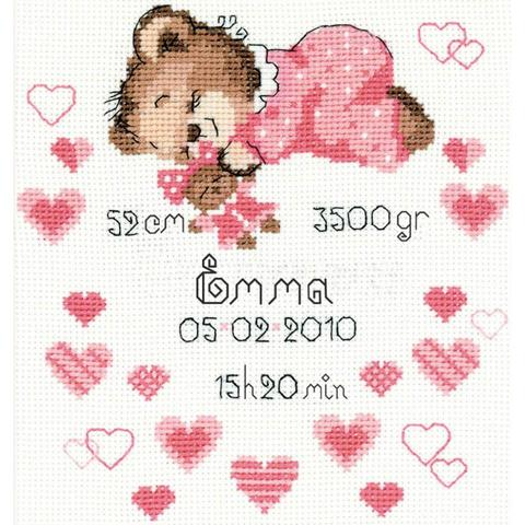 RIOLIS Counted Cross Stitch Kit - Girls Birth Announcement