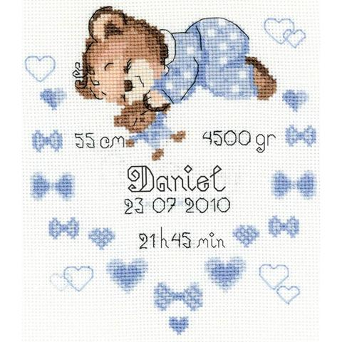 RIOLIS Counted Cross Stitch Kit - Boys Birth Announcement