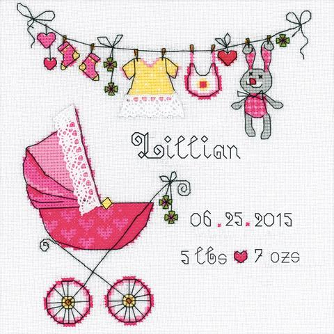 RIOLIS Counted Cross Stitch Kit - Its A Girl! Announcement