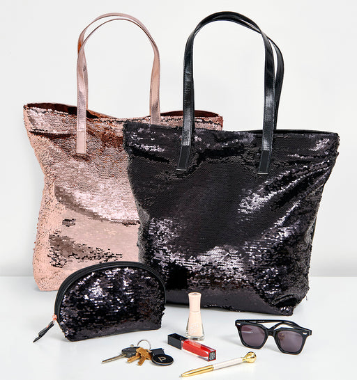 Better Tote Sequin Bag & Cosmetic Case set