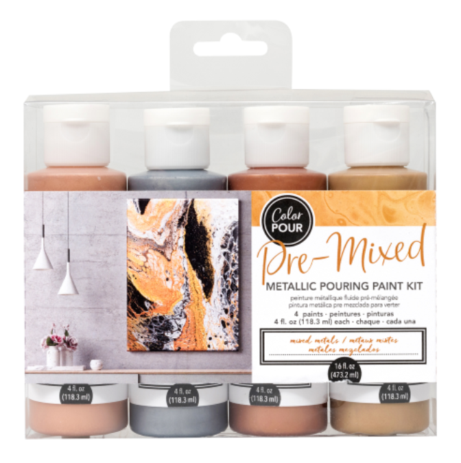 Mixed Metals Pre-mixed Pouring Paint kit