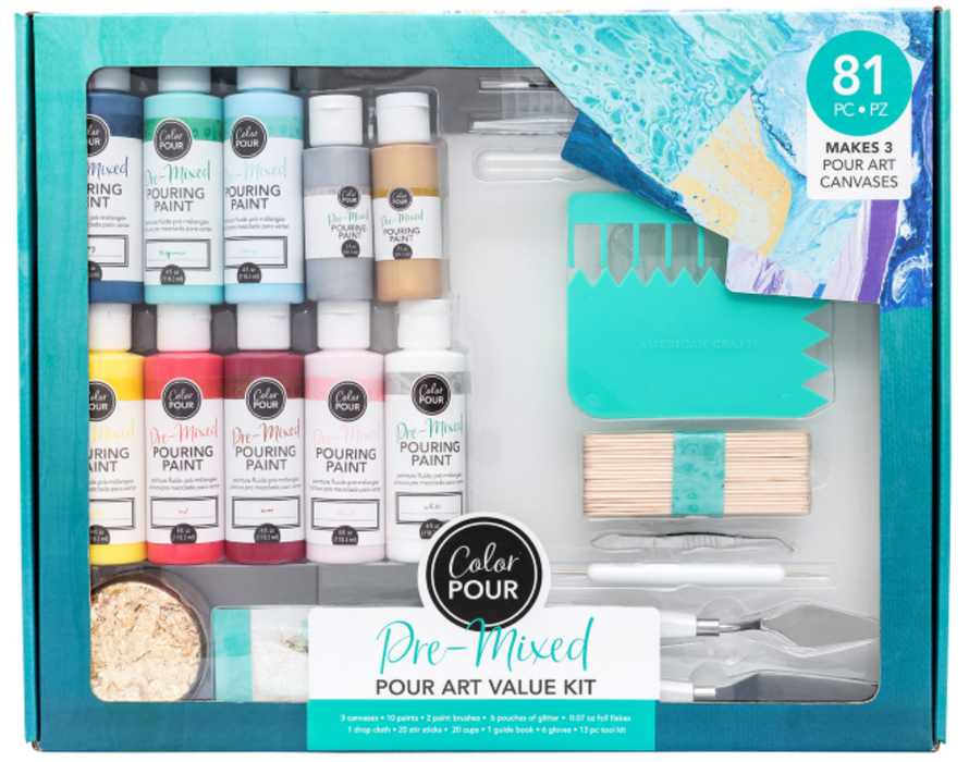 Pre-Mixed Paint Pour Art Value Kit