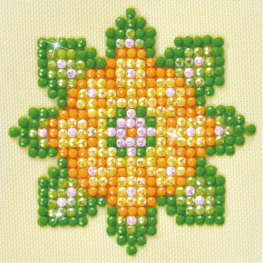 Diamond Dotz Flower Mandala Green & Orange