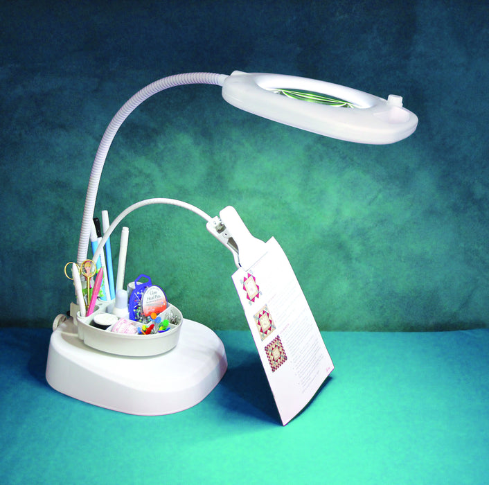 Led Magnifying Floor Lamp With Clip Arm And Tray