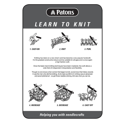 Patons Learn to Knit 4-page Leaflet