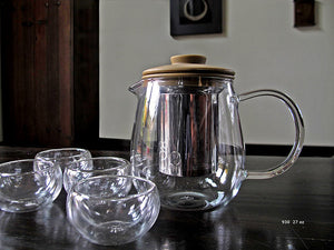 Glass Teapot with Double Walled Glasses