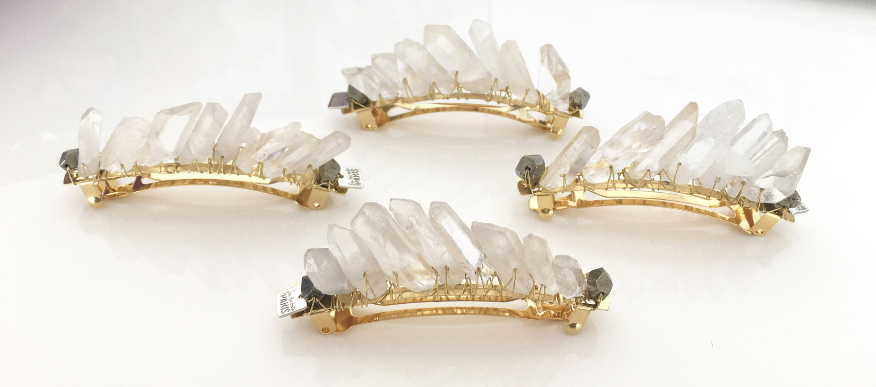 barrettes white crystal