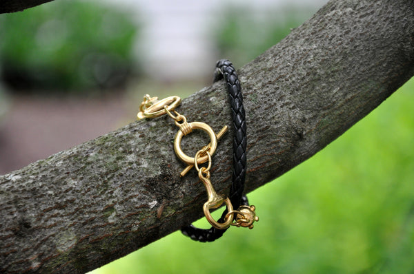 Black Leather Horse Bit Wrap Bracelet