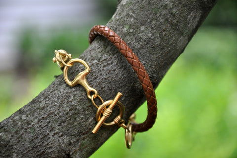 Saddle Leather Horse Bit Wrap Bracelet
