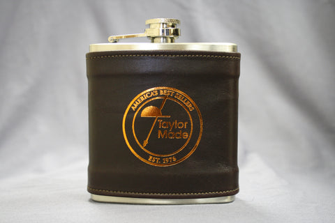 TM 6 oz. Leather Wrapped Pocket Flask