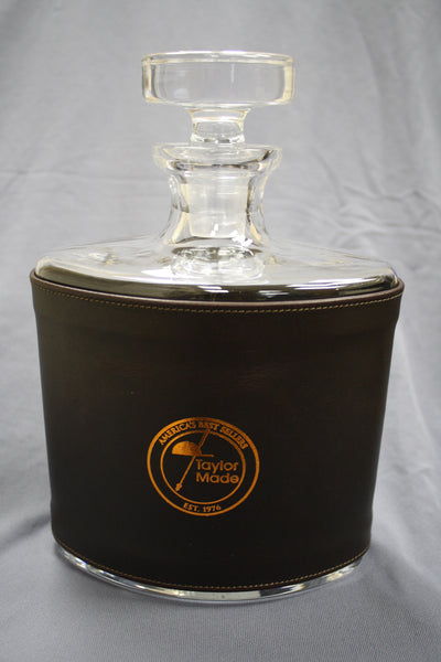 TM 28 oz. Leather Wrapped Waterford Crystal Vintage Oval Decanter