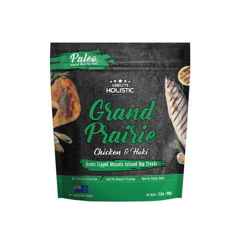 Absolute Holistic Air Dried Dog Treats Grand Prairie Chicken & Hoki - 100gm