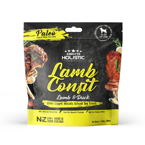 Absolute Holistic Air Dried Dog Treats Lamb Confit 100gm
