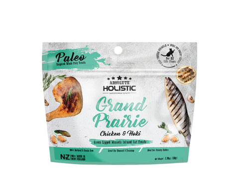 Absolute Holistic Air Dried Cat Treats Grand Prairie Chicken & Hoki - 50gm