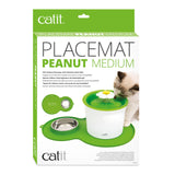 Catit Flower Peanut Mat with Stainless Steel Bowl Green