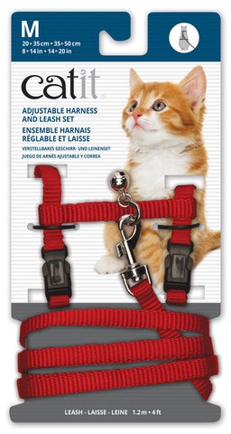 Catit Nylon Cat Adjustable Harness and Lead Medium Red