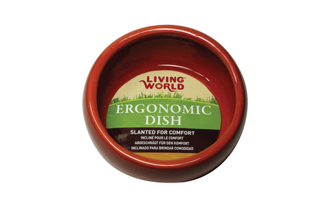 Living World Ceramic Ergonomic Pet Dish Terracotta