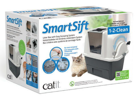 Catit Smartsift Deluxe Hooded Cat Pan Set Warm Grey