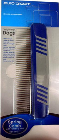 Euro Groom Spring Comb with rotating teeth