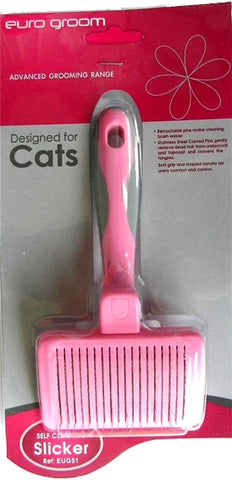 Euro Groom Self Cleaning Small Slicker Brush Soft Pin Cats